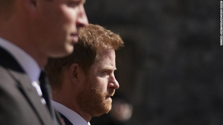 The Duke of Sussex walks during the funeral procession of his grandfather, the Duke of Edinburgh, to. St George's Chapel in Windsor Castle on April 17.