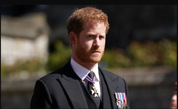Prince Harry at the funeral of Prince Philip (Image: GETTY)