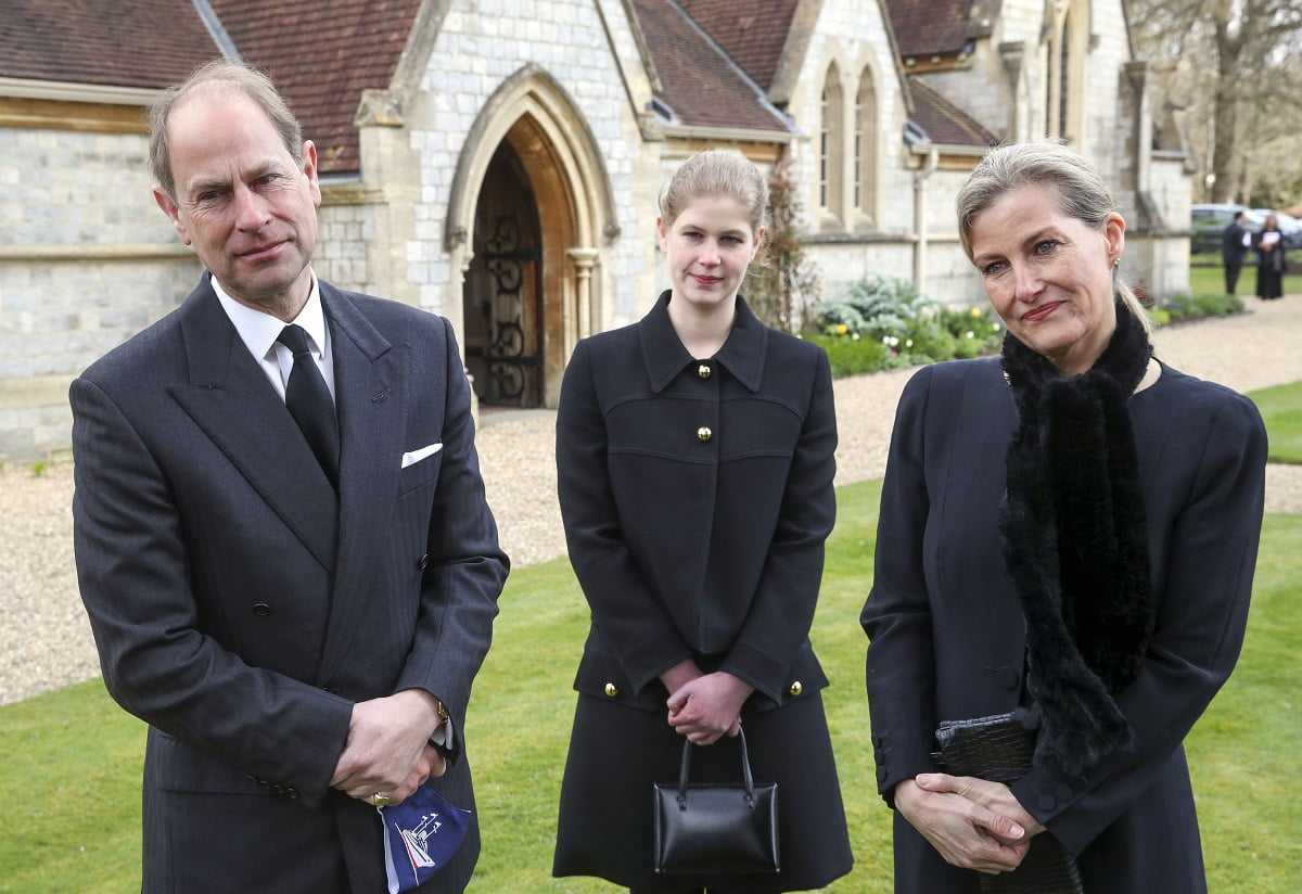 WINDSOR, ENGLAND - APRIL 11: Prince Edward, Earl of Wessex and Sophie, Countess of Wessex with their daughter Lady Louise Windsor, during a television interview at the Royal Chapel of All Saints, Windsor, following the announcement on Friday April 9th of the death of Prince Philip, Duke of Edinburgh, at the age of 99, on April 11, 2021 in Windsor, England. (Photo by Steve Parsons - WPA Pool/Getty Images)