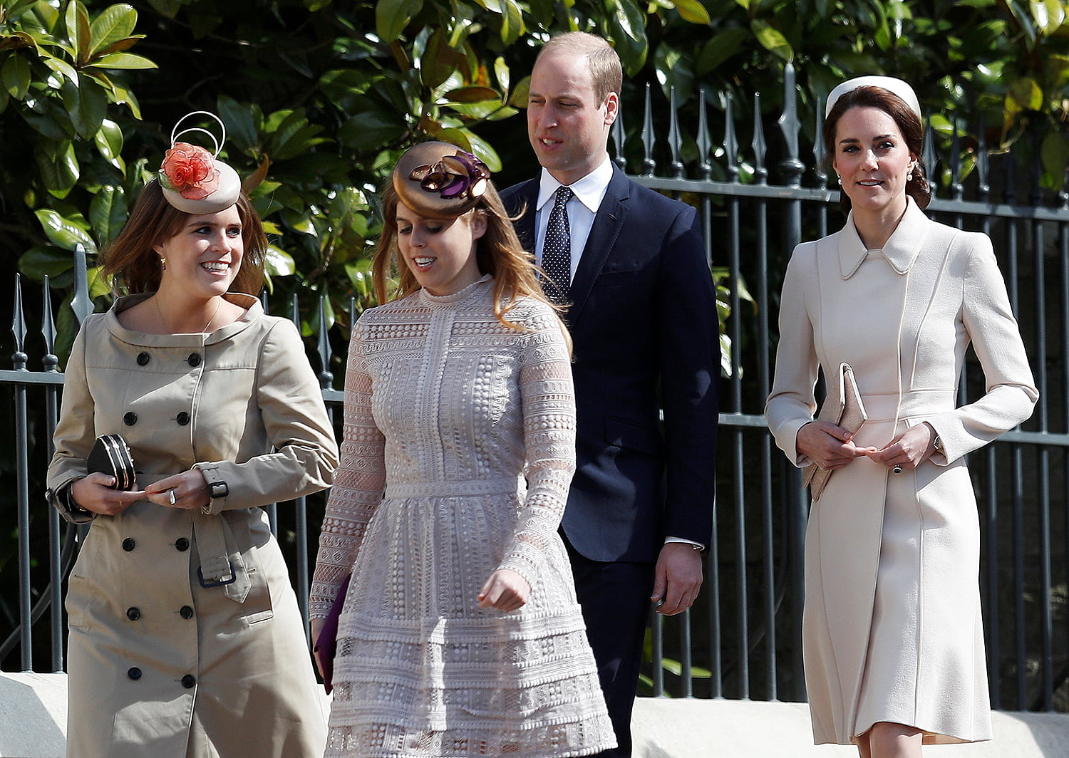 WINDSOR, UNITED KINGDOM - APRIL 16: : (L-R) Princess Eugenie, Princess Beatrice, Prince William, Duke of Cambridge and Catherine, Duchess of Cambridge attend the Easter Day service at St George's Chapel on April 16, 2017 in Windsor, England. (Photo by Peter Nicholls/WPA Pool/Getty Images)