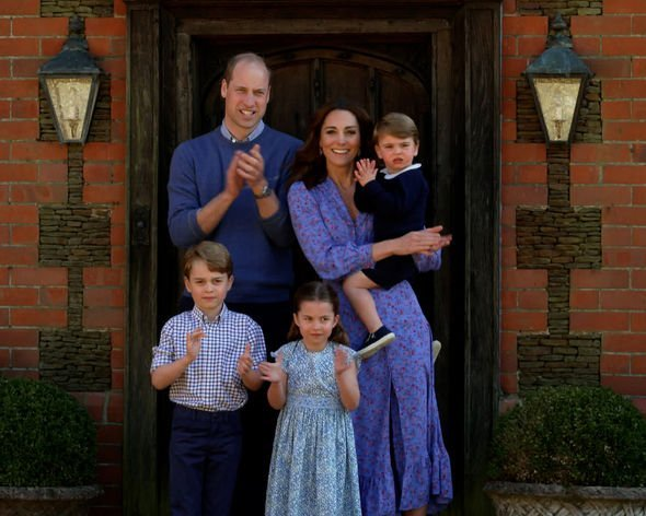 Kate and Prince William with their children in April 2020 (Image: GETTY)